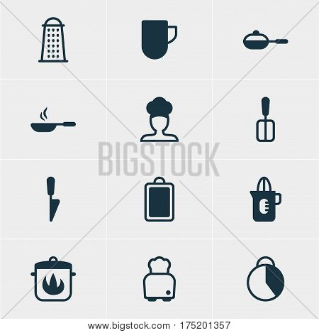 Vector Illustration Of 12 Cooking Icons. Editable Pack Of Timekeeper, Frying Pan, Cook And Other Elements.