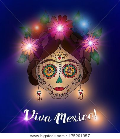 Mexico day of the dead illustration traditional painted skull with flower decoration. EPS10 vector.
