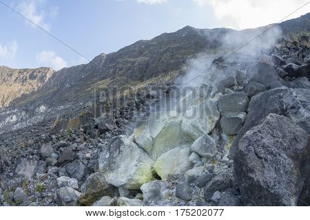 Hot sulfuric gases escape from vent inside crater of El Chichonal volcano in Chiapas Mexico