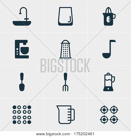 Vector Illustration Of 12 Cooking Icons. Editable Pack Of Mixer , Washstand, Carafe Elements.