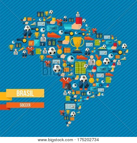 Brazil Soccer Map Of Sport Game Icons