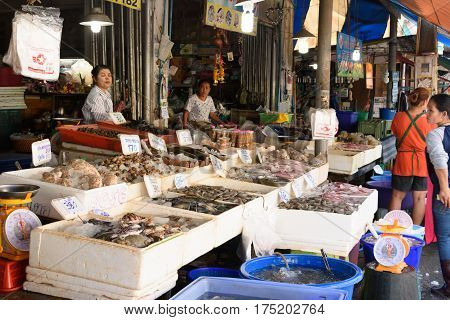 Rayong Thailand-February 06 :Fresh seafood at Ban Phe local market on February 06 2017 in Ban Phe local market Rayong Thailand