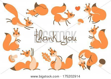 Thank You Card with Cute Squirrels. Vector Illustration.