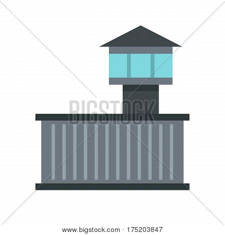 Prison tower icon in flat style isolated on white background vector illustration