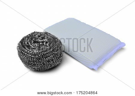 Steel wire wool scrub and scrub pad isolated on white background