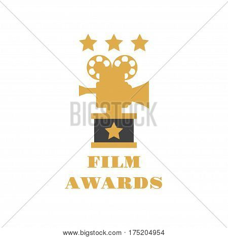 Film Award for the best film in the form of logo with camera. Movie Theater, Cinematic Award, Movie Premiere. Flat vector cartoon illustration. Objects isolated on white background.