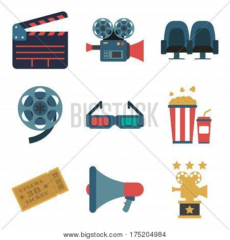 Set of cinema color icons, design elements isolated on white background. Flat style. movie