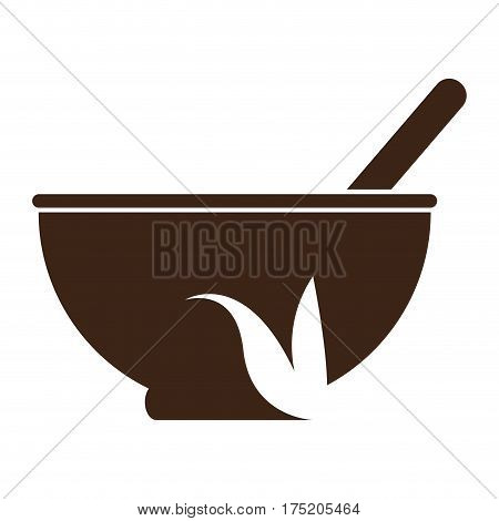 Isolated silhouette of a mortar and a pestle, Vector illustration