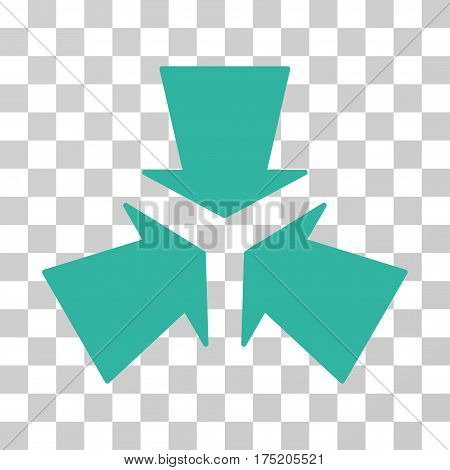 Shrink Arrows icon. Vector illustration style is flat iconic symbol cyan color transparent background. Designed for web and software interfaces.