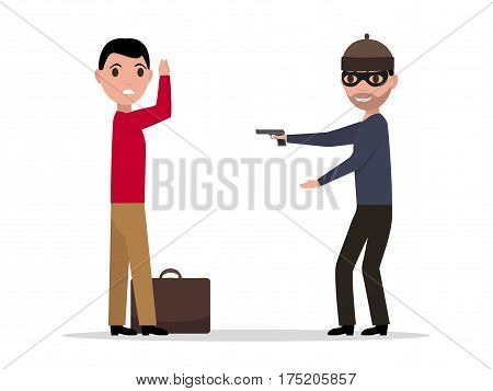 Vector illustration of a cartoon robber with a gun robbing a man. Isolated white background. Flat style. Bandit steals from the male. Concept of robbery.