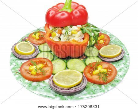 stuffed red pepper with cucumber onion lemon and tomato