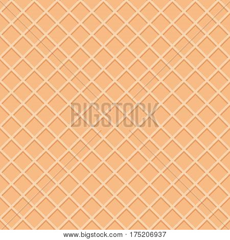 Wafer seamless pattern background. Ice cream cone surface. Vector.