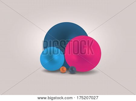 Colorful perls on grey background composition, vector illustration, eps10