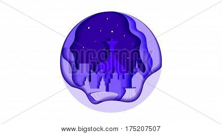 Vector illustration background icon circle flat style architecture buildings town country travel Brazil South America, Rio de Janeiro statue Christ Savior, top mountain Corcovado, skyscrapers, welcome