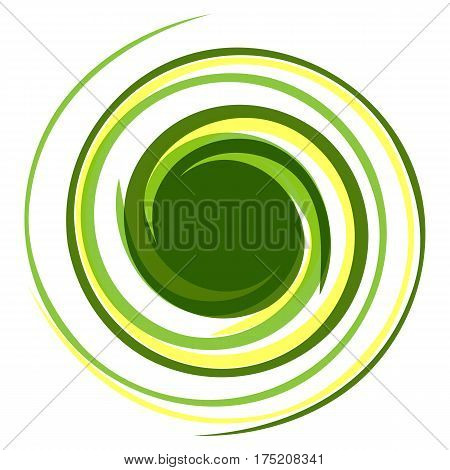 Hypnotic logo. Dynamic game effect. Twisted spring curls of green and yellow. Background for presentation.