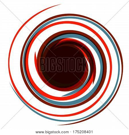 Hypnotic logo. Dynamic game effect. Twisted red and blue energy rays. Background for presentation.