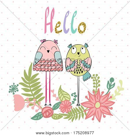 Card with cartoon owls in bright colors.