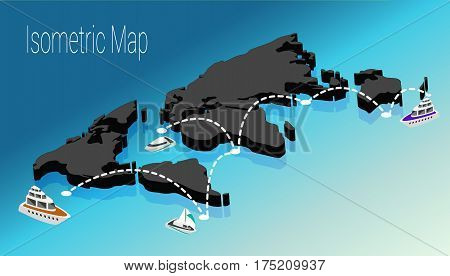 Map world isometric concept. 3d flat illustration of Map world. Vector world map connection Political World Map isometric 3D