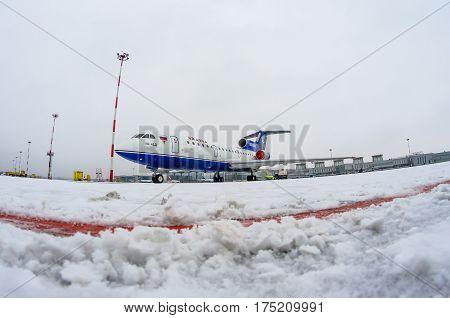 Yakovlev 42 Izj avia airport Pulkovo Russia Saint-Petersburg January 2017.
