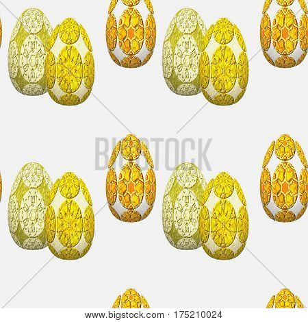 Seamless easter pattern of decorative eggs with embossed relief pattern. Gold, orange and green easter eggs on a white background. 3d rendering