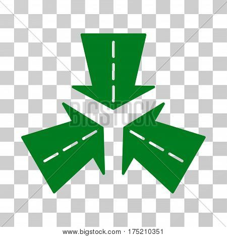 Merge Directions icon. Vector illustration style is flat iconic symbol green color transparent background. Designed for web and software interfaces.