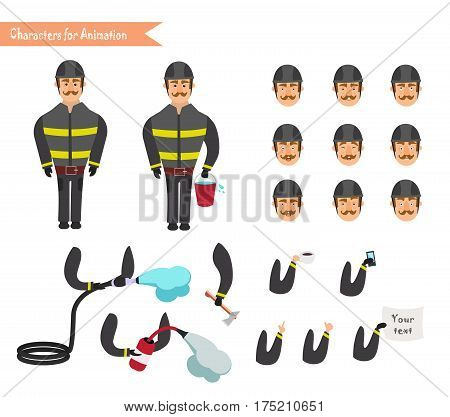 Set for animation of firefighter in uniform protective suit with axe fire hose cartoon vector illustration isolated on white background. Young firefighter fireman set. Parts of body template for animation.