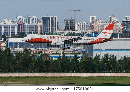 Tupolev 214 Red wings airlines airport Pulkovo Russia Saint-Petersburg August 2016.