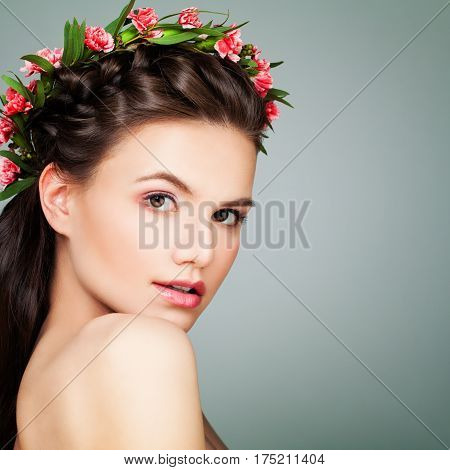 Spa Beauty. Perfect Woman with Healthy Skin and Flowers. Aesthetic Medicine and Cosmetology Concept