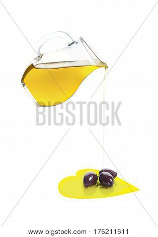 Olive Oil and Olives in Heart of Olive Oil Isolated on White Background