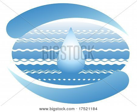Ocean and a drop of clean water on the planet earth. Symbol. poster