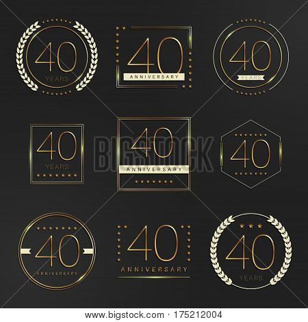 Forty years anniversary logotype. 40th anniversary logo collection.