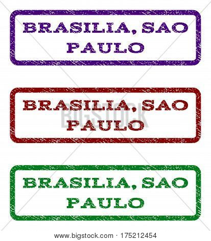 Brasilia, Sao Paulo watermark stamp. Text tag inside rounded rectangle with grunge design style. Vector variants are indigo blue, red, green ink colors. Rubber seal stamp with dirty texture.