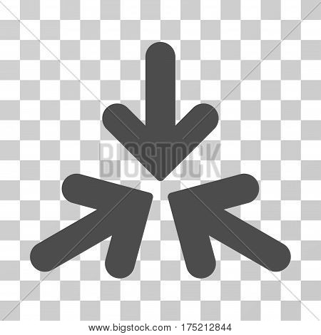 Triple Collide Arrows icon. Vector illustration style is flat iconic symbol gray color transparent background. Designed for web and software interfaces.