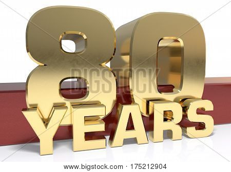 Golden digit eighty and the word of the year. 3D illustration