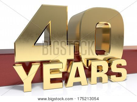 Golden digit forty and the word of the year. 3D illustration