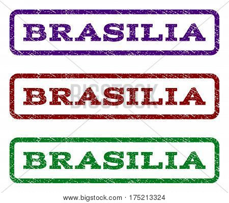 Brasilia watermark stamp. Text tag inside rounded rectangle frame with grunge design style. Vector variants are indigo blue, red, green ink colors. Rubber seal stamp with unclean texture.