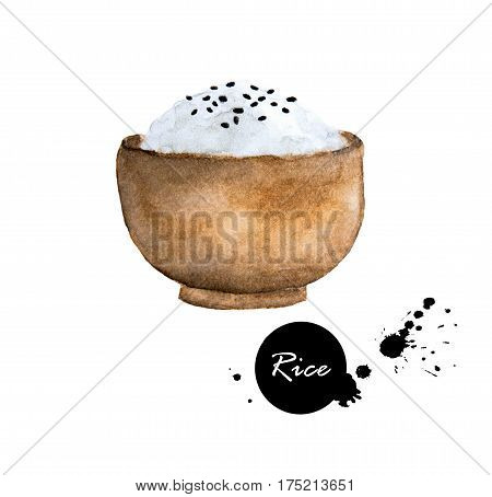 Japan rice and black sesame seeds in a wooden bowl - watercolor painting illustration on white background