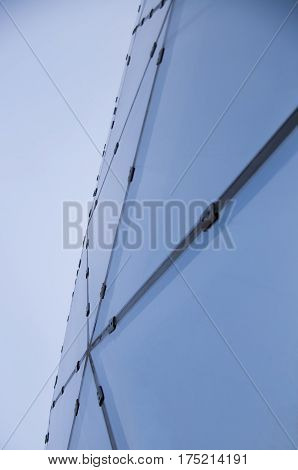 Abstract image of a part of a glass facade of a building
