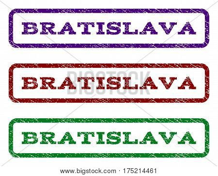 Bratislava watermark stamp. Text caption inside rounded rectangle with grunge design style. Vector variants are indigo blue, red, green ink colors. Rubber seal stamp with dust texture.