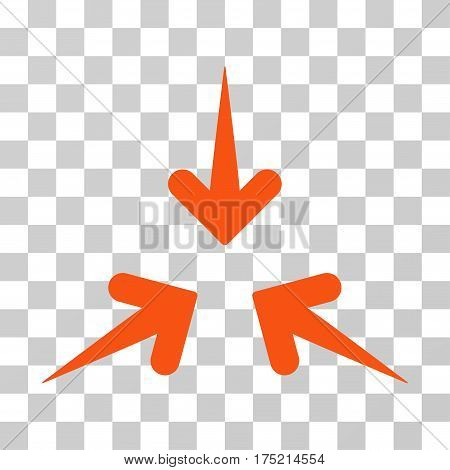 Impact Arrows icon. Vector illustration style is flat iconic symbol orange color transparent background. Designed for web and software interfaces.