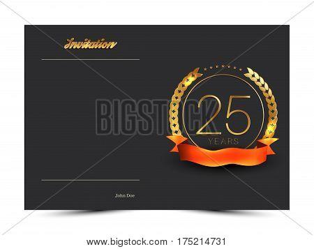 25th anniversary decorated invitation card template. Vector illustration.