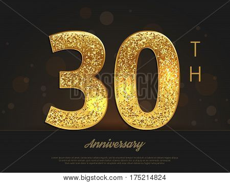 30th anniversary decorated invitation/greeting card template. Vector illustration.