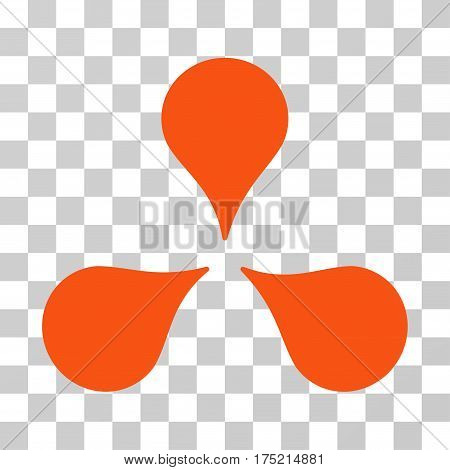 Map Markers icon. Vector illustration style is flat iconic symbol orange color transparent background. Designed for web and software interfaces.