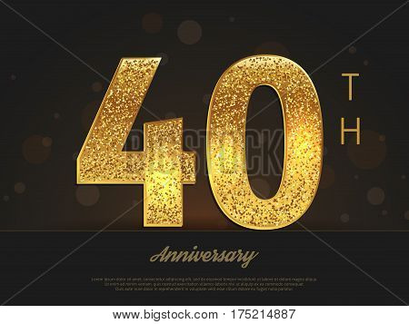 40th anniversary decorated invitation/greeting card template. Vector illustration.