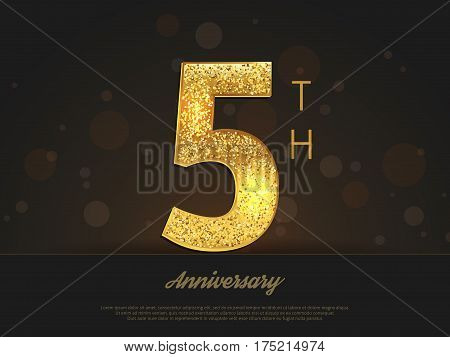 5th anniversary decorated invitation/greeting card template. Vector illustration.