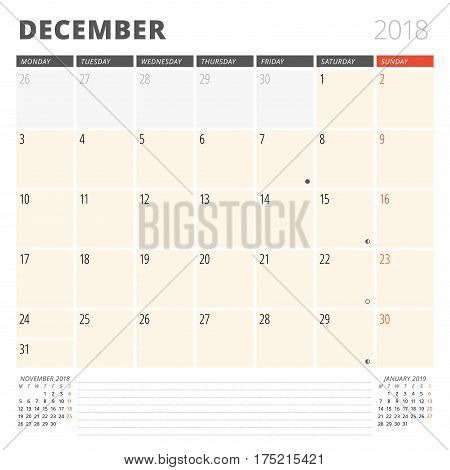 Calendar Planner For December 2018. Design Template. Week Starts On Monday. 3 Months On The Page. Ph