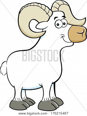 Cartoon illustration of a smiling big horn ram.