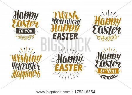 Happy Easter, label set. Hand drawn lettering, calligraphy vector illustration isolated on white background