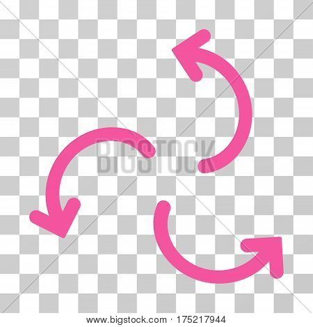 Cyclone Arrows icon. Vector illustration style is flat iconic symbol pink color transparent background. Designed for web and software interfaces.