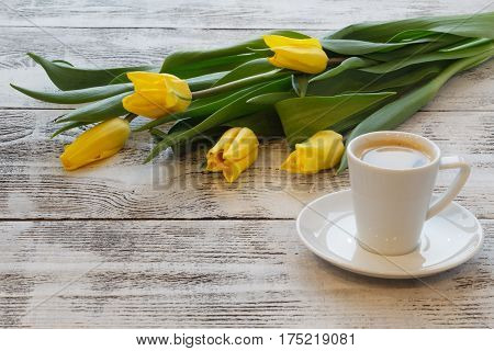 Coffee Break With Bouquet Of Yellow Tulips